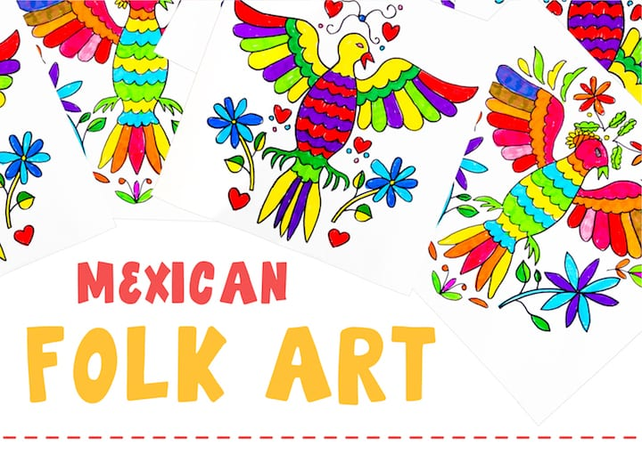 mexican folk art floral pattern designs art projects for kids