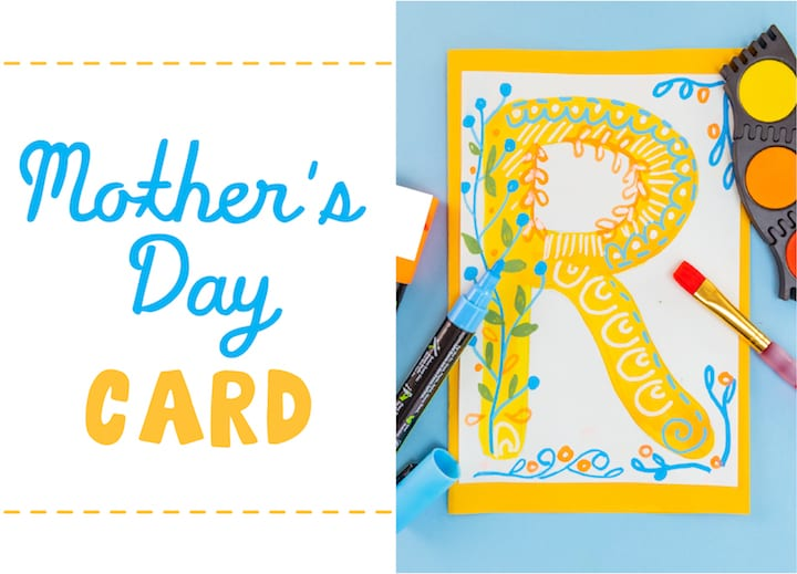 howt to make your own typography card for mothers day art project for kids