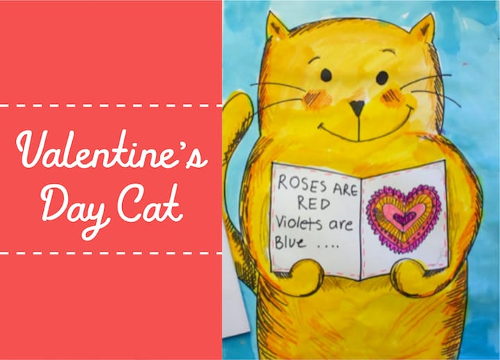 valentines day cat art project for younger students