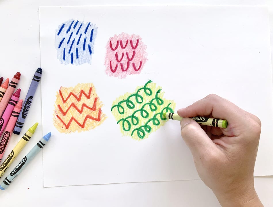add texture with crayons kids art