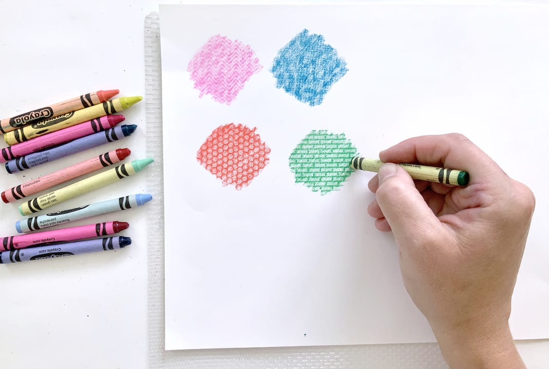 create texture rubbings with crayons kids art