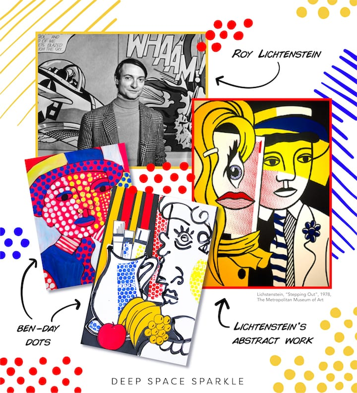 Lichtenstein art examples and project ideas for kids in the art room