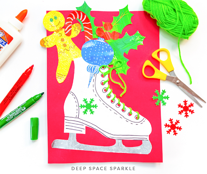 Winter Wonderland Holiday Art Packet lessons for students all grades, winter ice skate