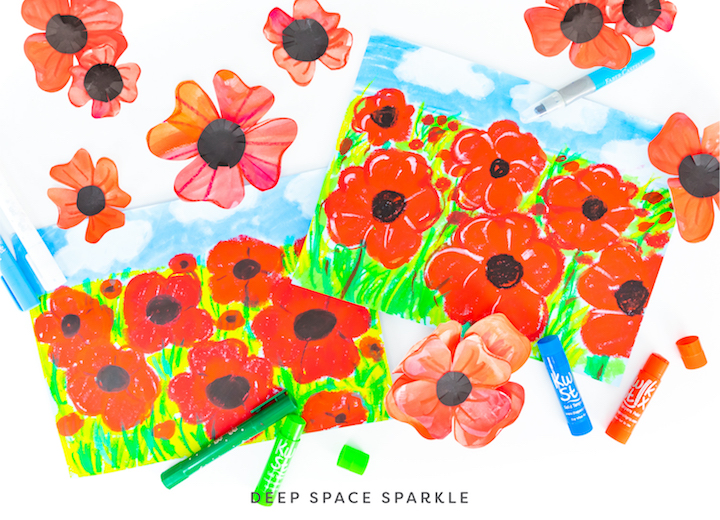 poppy flower projects for canadas rememberance day art lesson for kids