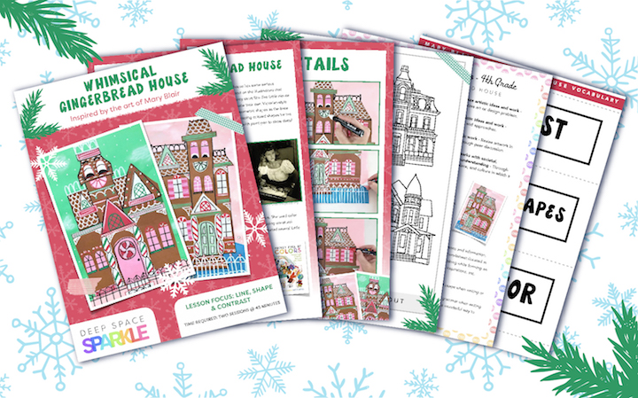 Winter Wonderland Holiday Art Packet lessons for students all grades, mary blair gingerbread house