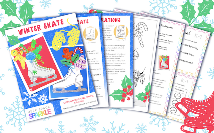 Winter Wonderland Holiday Art Packet lessons for students all grades, winter skate lessons