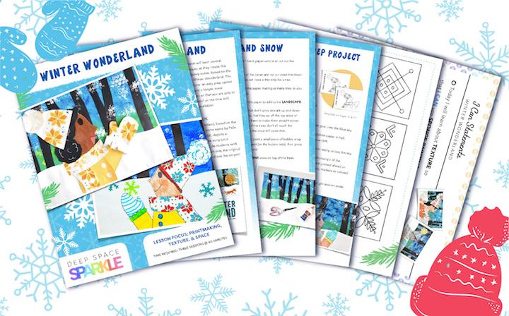 Winter Wonderland Holiday Art Packet lessons for students all grades, winter wonderland lesson