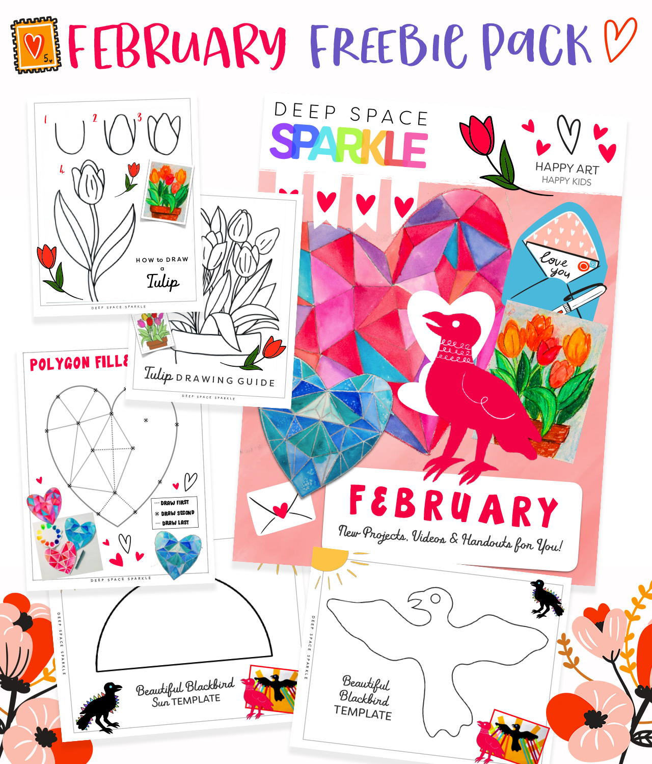 February Freebie pack of art lessons for art teachers for the holidays valentines