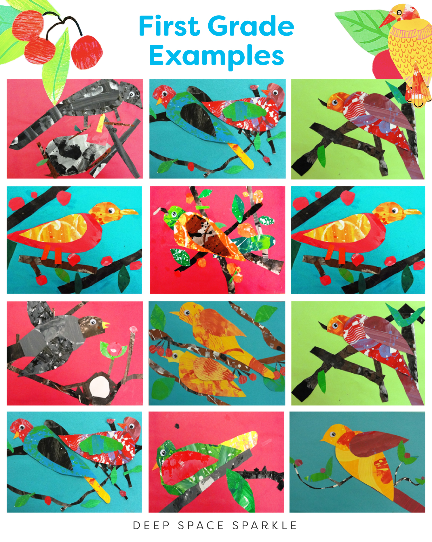 First Grade Examples Bird in a Cherry Tree