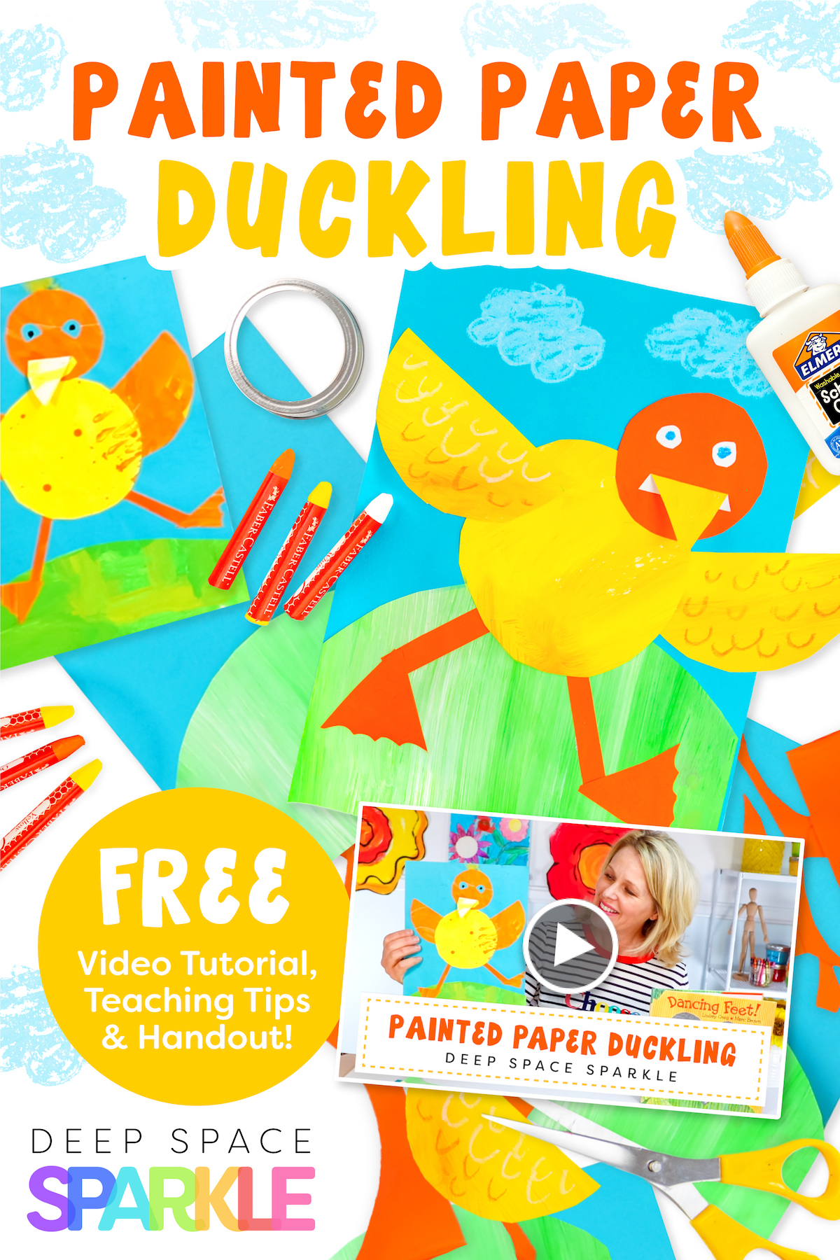 dancing paper duckling art project for kids with step-by-step instructions and video tutorial