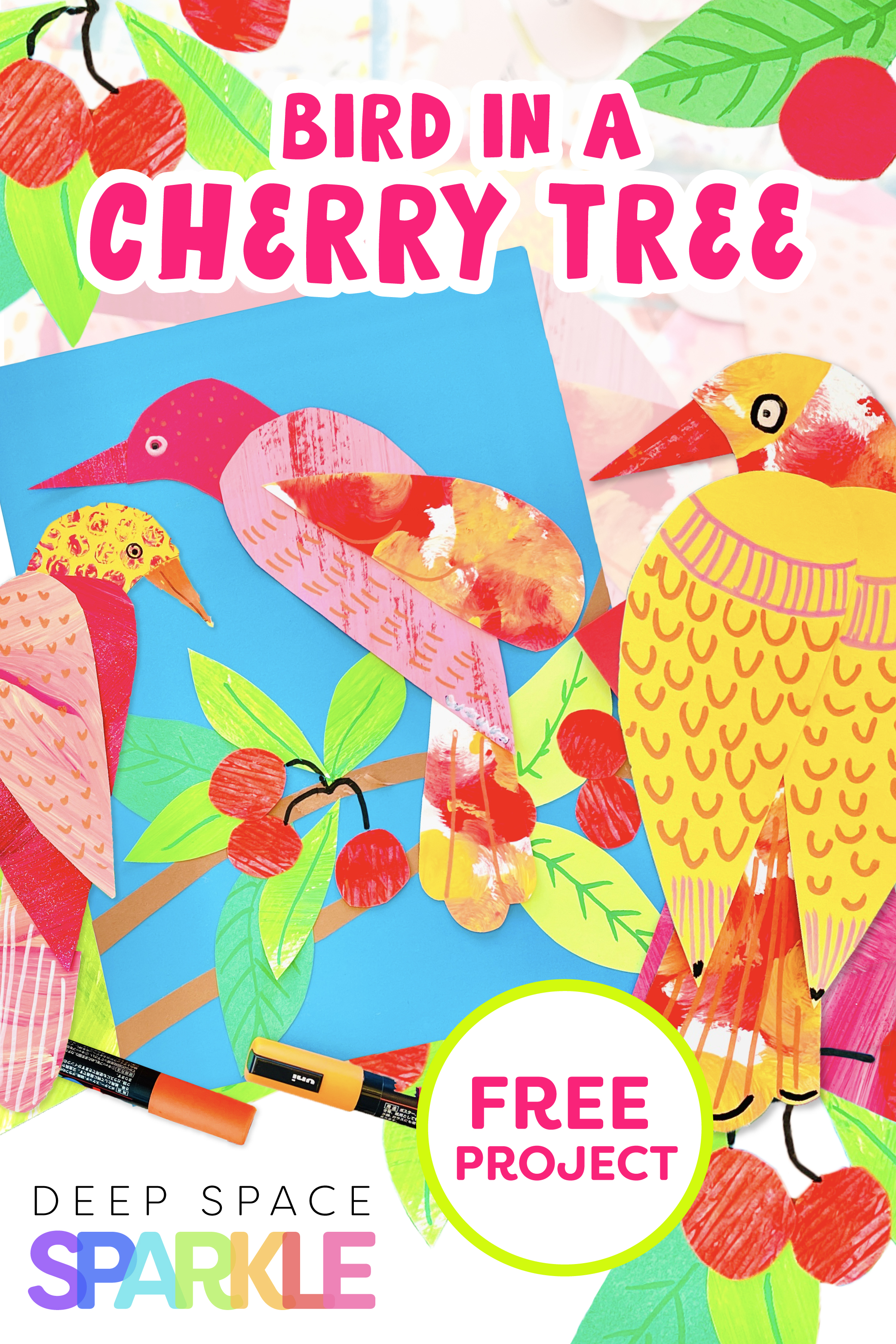 Bird in a Cherry Tree free project art lesson for kids