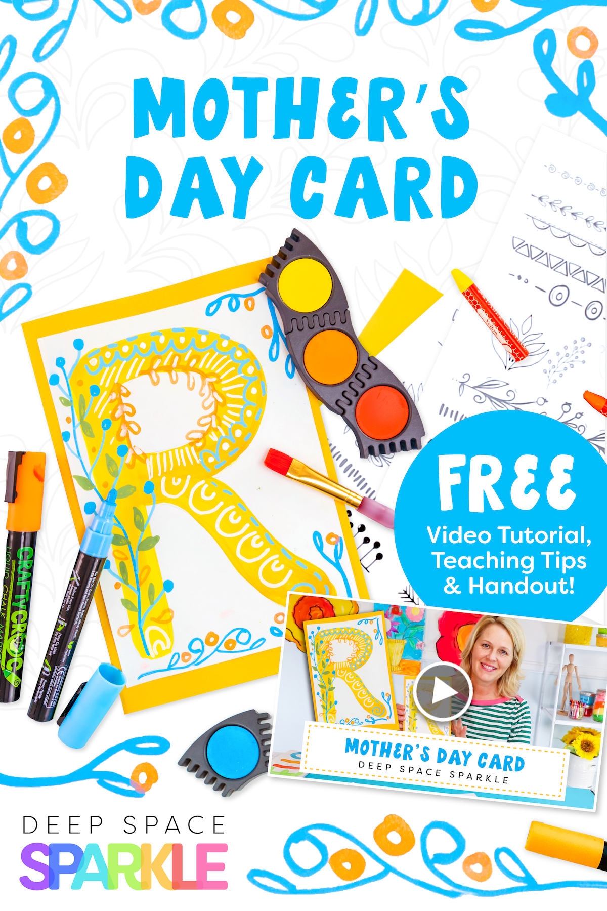 how to make your own typography card for mothers day art project for kids