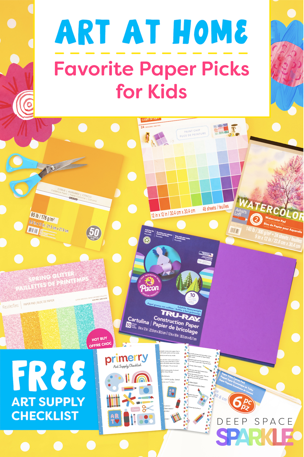 Art at home art project with my favorite paper picks for kids with a free art supply checklist