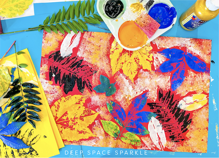 textured fall leaves art project for kids printmaking