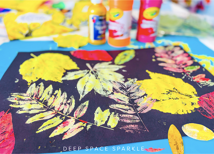 textured fall leaves art lesson for kids