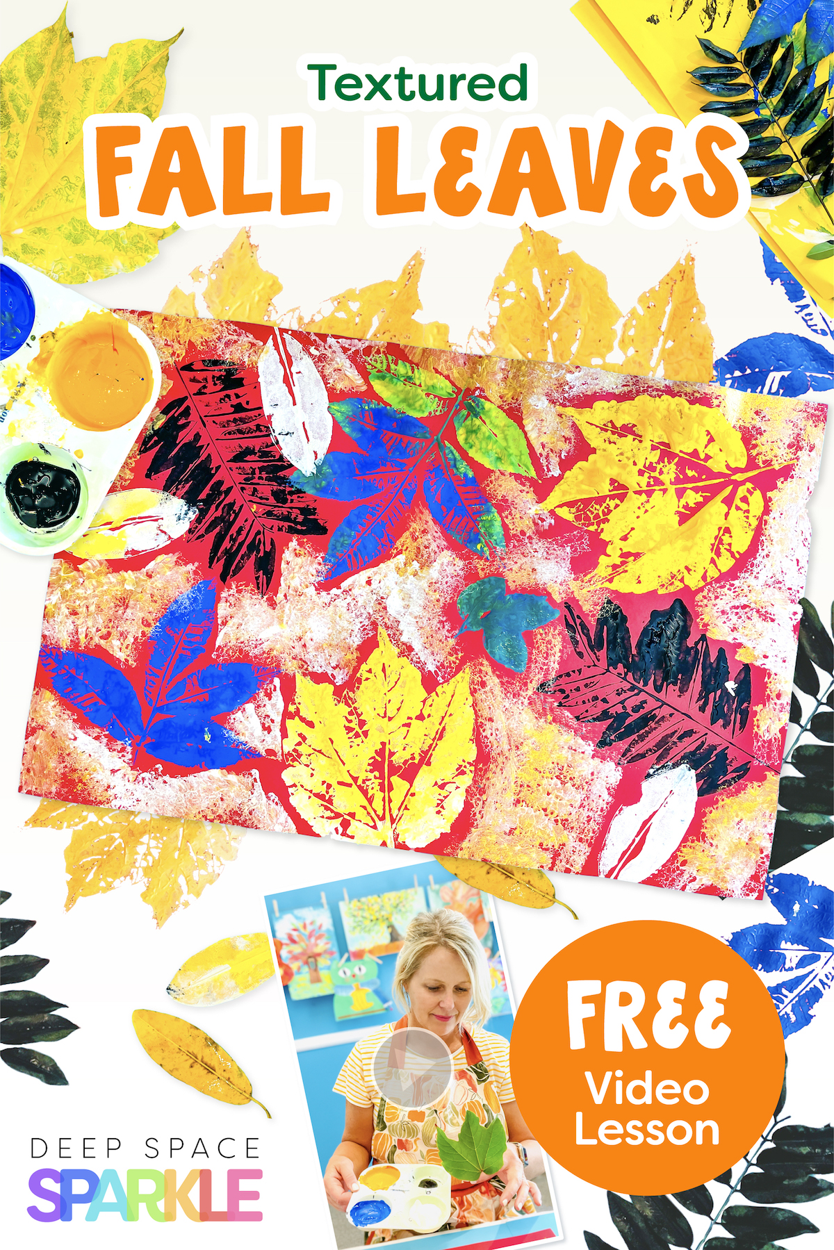 textured leaves fall art lesson for kids with video tutorial